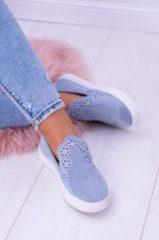 Blue Alx Trend Slip On scamosciate con fiori traforati Adela Azzurre