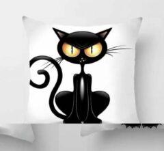 Dierenkussens Kussenhoes Crazy Cat - kat - kattenkussen - Sierkussen - 45x45 cm