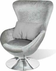 VidaXL Fauteuil eivormig zilver