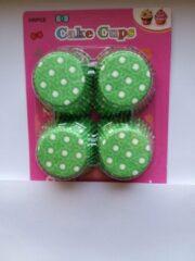 Het Borstelhuis vof Cupcake Vormpjes Papier - Muffin Vormpjes - 100 Stuks - Diameter 5 cm - Groen met witte sterretjes