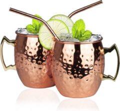 KitchenBrothers Moscow Mule Bekers met RVS Rietjes - Set van 2 Stuks - Verkoperde Cocktail Glazen - Koperen RVS Mok Gehamerd - Copper Mug - 500 ML