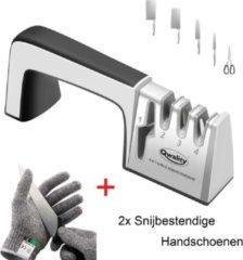 Grijze Messenslijper – Doortrekslijper Set - Messen en Scharen Slijpen - Scharenslijper - 4-in-1 – Incl. 2x Snijbestendige Handschoen - Qwality