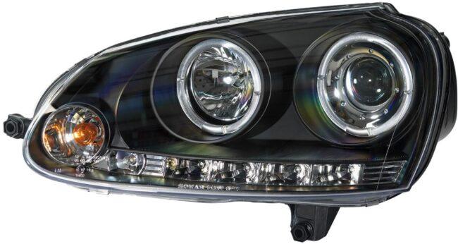 Afbeelding van AutoStyle Set Koplampen passend voor Volkswagen Golf V 2003-2008 - Zwart - incl. Angel-Eyes