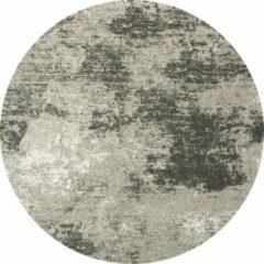 Donkergrijze Flooo Rond Vintage vloerkleed - Grunge - Tapijten Woonkamer - Ruskeala - 280 ø