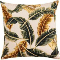 Beige Jungle bladeren Feather Kussen groen geel 60 x 60 cm - Linen & More