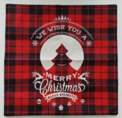 Hewec® Kerst kussen Vrolijk Kerstfeest Kussenhoes Kussensloop 45x45cm model 014