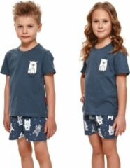 Blauwe Doctor Nap Katoenen Pyama Jongens & Meisjes | Korte Mouw Korte Broek | Pyjama Jongens Meisjes | Shortama Jongens Meisjes | Bear Yourself Deep Blue PDU.4265 134/140