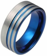Tom Jaxon Wolfraam heren ring Dubbele Groef Geborsteld Zilverkleurig Blauw-21mm