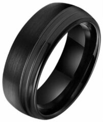 Wolfraam heren ring Tom Jaxon Groef Zwart Mat en Glans-22mm