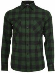 Urban classics geruit flanellen slim fit overhemd donkergroen donkerblauw