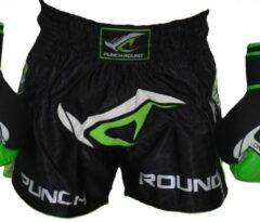 Punch Round™ Punch Round NoFear Kickboks Shorts Zwart Neo Groen maat S = 30
