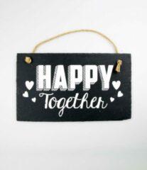 Grijze Paper dreams Wandbord van Leisteen - HAPPY Together - Tekstbord