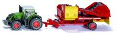 Rode Siku Fendt tractor met Grimme aardappelrooier rood/groen (1808)