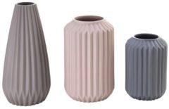 MiaVILLA Vasen-Set, 3-tlg. Riffel, Porzellan