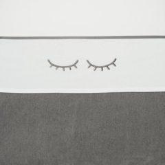 Grijze Meyco ledikantlaken Sleepy eyes grijs 100 x 150 cm