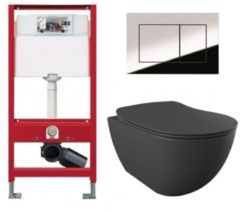 Douche Concurrent Tece Toiletset - Inbouw WC Hangtoilet wandcloset - Creavit Mat Antraciet Rimfree Tece Now Glans Chroom