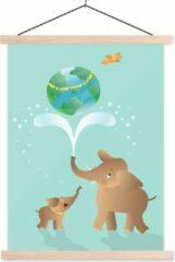 TextilePosters Een illustratie van twee olifanten waaronder een baby olifant schoolplaat platte latten blank 40x53 cm - Foto print op textielposter (wanddecoratie woonkamer/slaapkamer)