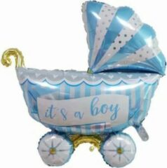 Feestballonnenverkoop Kinderwagen ballon - XL -94x81cm - Blauw - Folie ballon - Themafeest - Babyshower - Geboorte - It's a Boy - Versiering - Ballonnen - Helium ballon
