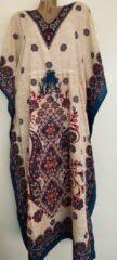 Merkloos / Sans marque Dames kaftan bloemenprint met aantrekkoord en V hals one size 36-50 beige/rood/blauw