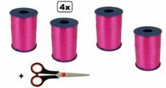 4x Krullint roze hardroze 5mmx500meter| merk Cotton blue |krullint schaar| kerst sinterklaas decoratie