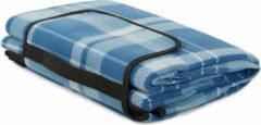VERK GROUP Picknickkleed - 200 x 150 cm - Lichtblauw geruit - met handvat - waterafstotende onderkant