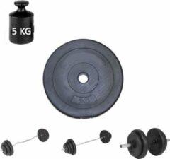 Zwarte Merkloos / Sans marque Halterschijf 5 kg – Fitness Gewicht – Dumbbell Haltergewicht 5kg - OPENING 26mm - Buitendiameter 270mm