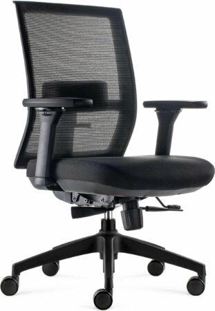 Afbeelding van BenS 835-Ergo-4 Zwart Luxe ergonomische bureaustoel met een Donati mechaniek en een verstelbare lende steun Voldoet aan EN1335 en Arbo norm - Zwart