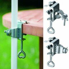 Zilveren Relaxwonen | Klem voor parasol | RVS | Verstelbaar | Voor iedere parasol! |Parasol klem voor aan de tafel