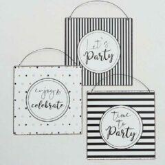 Witte Extra Tekstbord spreukbord Party set van 3 stuks