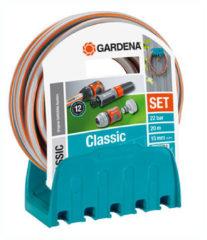 Grijze Gardena Classic Tuinslang 1/2 Inch + Houder en Aansluitarmaturen - 20 meter