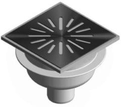 Zilveren Tegeldepot Doucheput Aquaberg ABS Vloerput RVS Rooster Onderuitlaat 50mm 150x150mm PPC Reukafsluiter