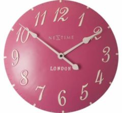 Wandklok NeXtime dia 24,5 cm poly resin, roze, 'London'