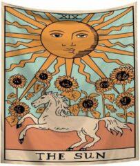Blauwe Kasey The Sun (Horse) Wandkleed - Tarot Kaarten - Wanddecoratie Tarotkaart - 70x95CM