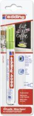 Edding - Krijtmarker e-4095 - Op blister - Lichtgroen - krijtmarkers - raamstift - raamstiften - chalkmarker – krijtstift – glasstift – schoolbordstift – krijtbordstift – stoepbordstift
