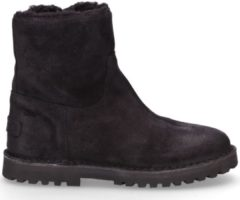 Shabbies Snowboots Ankle Boot Wool Lining Waxed Suede Zwart Maat:37