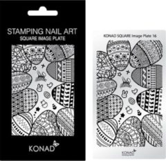 Grijze KONAD Square Image Plate 16 met 19 stamping nail art geïnspireerd door ' PASEN / EASTER '.