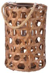 Decoris Lantaarn populierhout bruin met hengsel touw 26x38cm met glas