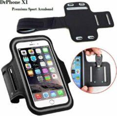 Zwarte DrPhone X1 - Reflecterende Sportarmband - Premium Hardloop Band voor elke Sport - Waterafstotend - Comfortabel - Verstelbaar – Oordoppen, Kaart en Sleutelvak - Geschikt voor HUAWEI P30 , P30 Plus en P30 Lite