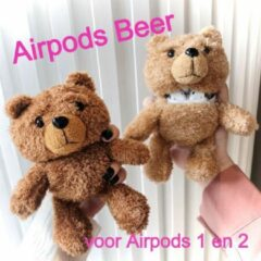Allernieuwste Airpods Case voor 1 en 2 BEERTJE Donkerbruin - Beschermhoes Air Pods - Draadloze Airpods Oordopjes Hoesje - Earphone Accessoire Bear - Mode Fashion Pluche Bo de BEER d.bruin case
