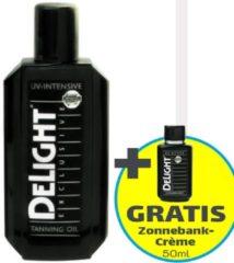 Zonnebank crème | Delight Exclusive Tanning Oil UV-intensive - 200 ml (sterke, gebruinde huid) + Gratis 50ml Zonnebank Tanning Milk