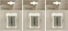 Decoris 6x Zilver ijzerdraad op rol 3000 cm - Hobby ijzerdraad zilver