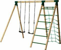 Groene Horby Bruk houtenschommel actief hoog