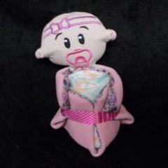 Roze Sabinesgeschenkenshop.be Pampertaart / Luiertaart Baby Roos knuffeldoekje + pampers