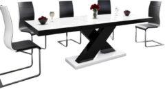 Hubertus Meble Uitschuifbare Eettafel Xenon 160cm tot 210cm - Hoogglans Wit met Zwart