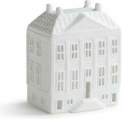 Witte Klevering Waxinelichthouder - hoogte 13 cm - grachtenpand - kaarsenhouder - kersthuisjes - theelichthouder - housewarming cadeau