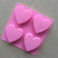 BukkitBow - 4 Roze Hartjes Bakvorm - Siliconen Bakvorm