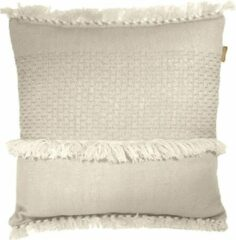 Gebroken-witte Malagoon Offwhite fringe cushion