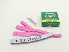 Guardian Beauty Barbermes - Shavette - Klassieke scheermes - I Love Italy + 100 Derby Professional scheermesjes