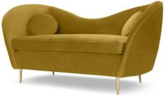 Kooper 2-zitsbank, vintage goud fluweel