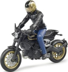 Zwarte Bruder Ducati Scrambler Cafe Racer Met Bestuurder Bruder